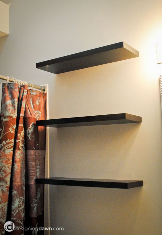Designing Dawn | painted bathroom shelves