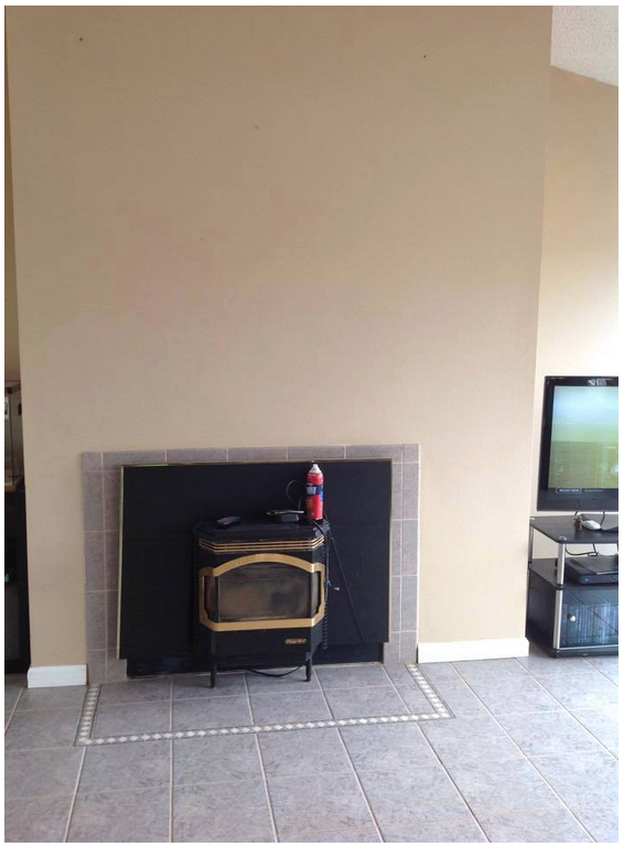 Decorating an off-centered, non-functioning fireplace