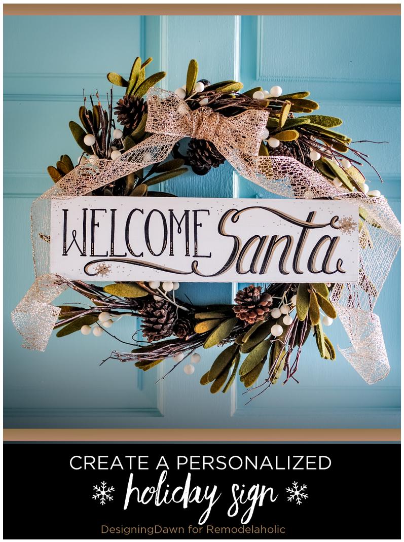 DIY Santa Sign - Designing Dawn for Remodelaholic